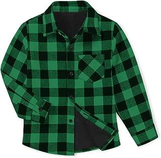 OCHENTA Boys' Men's Womens' Long Sleeve Plaid Fleece-Lined Family Matching Shirt