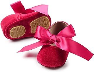 SOFMUO Baby Girls Mary Jane Flats Infant Non-Slip Bowknot Ballet Slippers Newborn Princess Dress Wedding Shoes Toddler Fir...