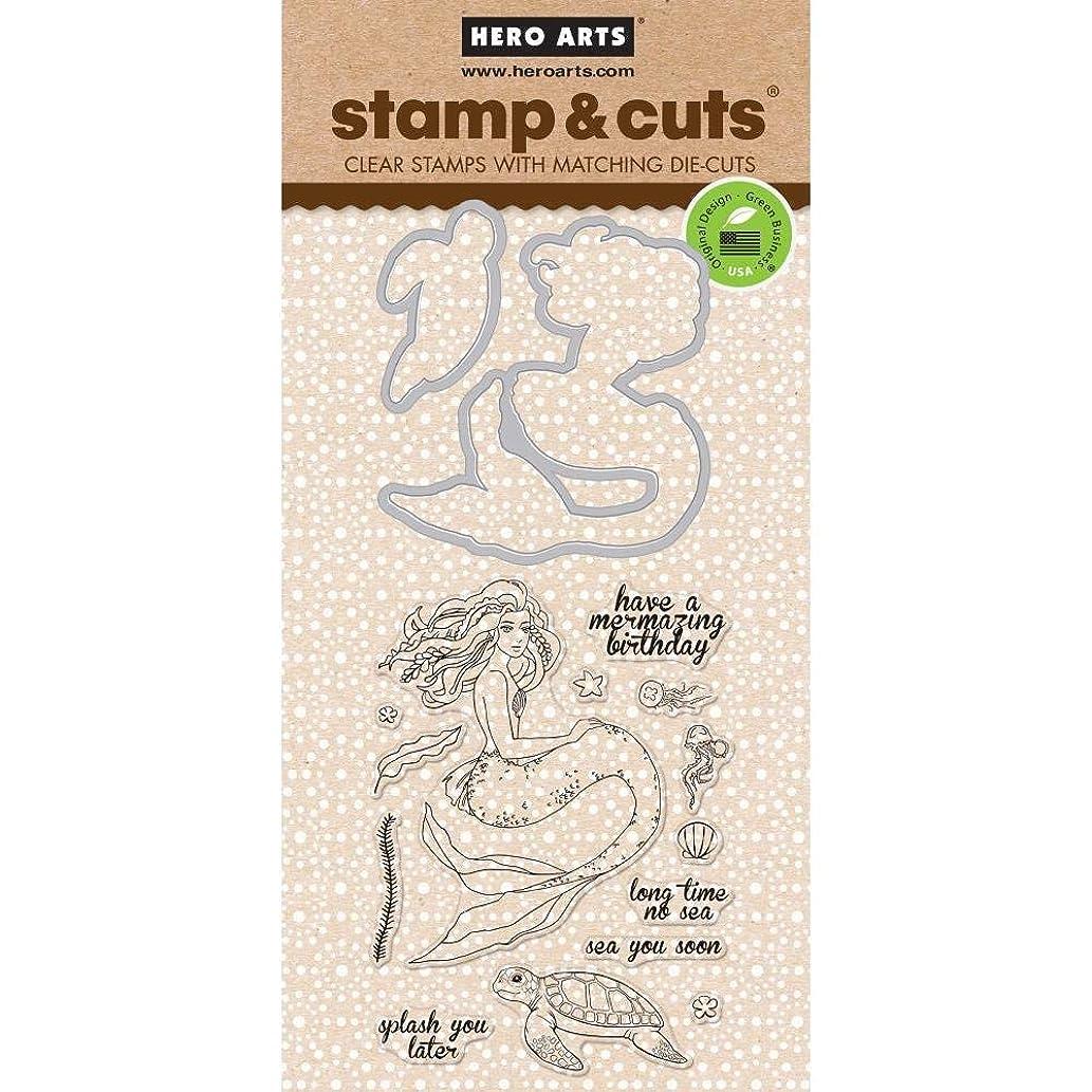 Hero Arts Stamp & Cut Set, Clear Stamps with Coordinating Frame Dies - Mermaid