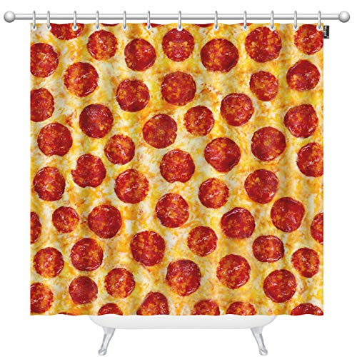 Mugod Pepperoni Pizza Shower Curtains a Seamless Food Texture Decorative Bathroom Waterproof Fabric Shower Curtain with 12 Hooks 60 x 72 Inches