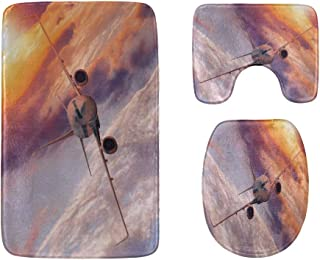 Airplane Flying in The Sunset Bathroom Rug Mats Set 3-Piece,Soft Shower Bath Rugs,Contour Mat and Toilet Seat Lid Cover No...