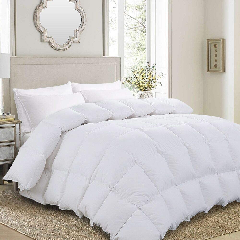 Amazon Com Hombys Luxurious Oversized King 120 X 120 Goose Down Comforter Duvet Insert 85 Oz Premium White Goose Down Feather 100 Cotton Shell Down Proof With 8 Tabs Super King Plus White Kitchen Dining