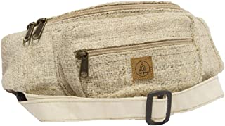 Natural Hemp Fanny Pack - Comfortable Hip Waist Bag with Adjustable Belt - Men & Women Money Bum Bags for Festivals, Travel & Hiking - Hippie/Sling/80s/Stripped/Handmade Boho Fanny Packs