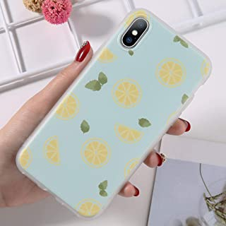 GUYISJK Cover Iphone,Lemon Simple Personality Blue Back Cover Pattern For Iphone 8 6 6S Plus X Xr Xs Maxsoft Tpu Matte Back Cover Phone Cases,For Iphone X/Xs