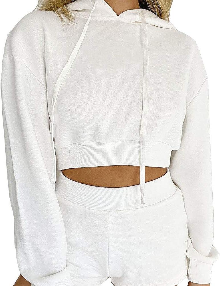Artfish Women's Casual Long Sleeve Pullover Hoodies Crop Tops Drawstring Sweatshirts