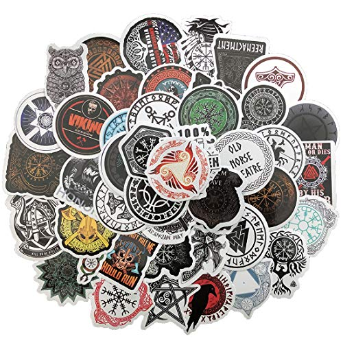 Viking Pirate Totems Runic Compass Stickers Decal for Water Bottle Laptops Cars Luggage Personal Computer Motorcycles, Bicycles, 50pcs Waterproof Sticker Pack