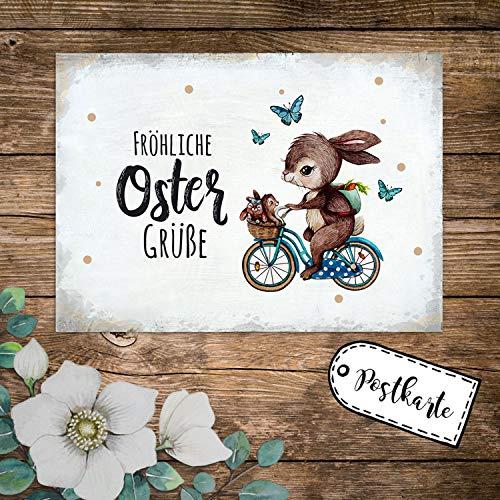 ilka parey wandtattoo-welt A6 Grußkarte Postkarte Osterkarte Print Hase auf Fahrrad mit Hasenkinder & Spruch Fröhliche Ostergrüße Punkte pk240 - ausgewählte Menge: *1 Stück*