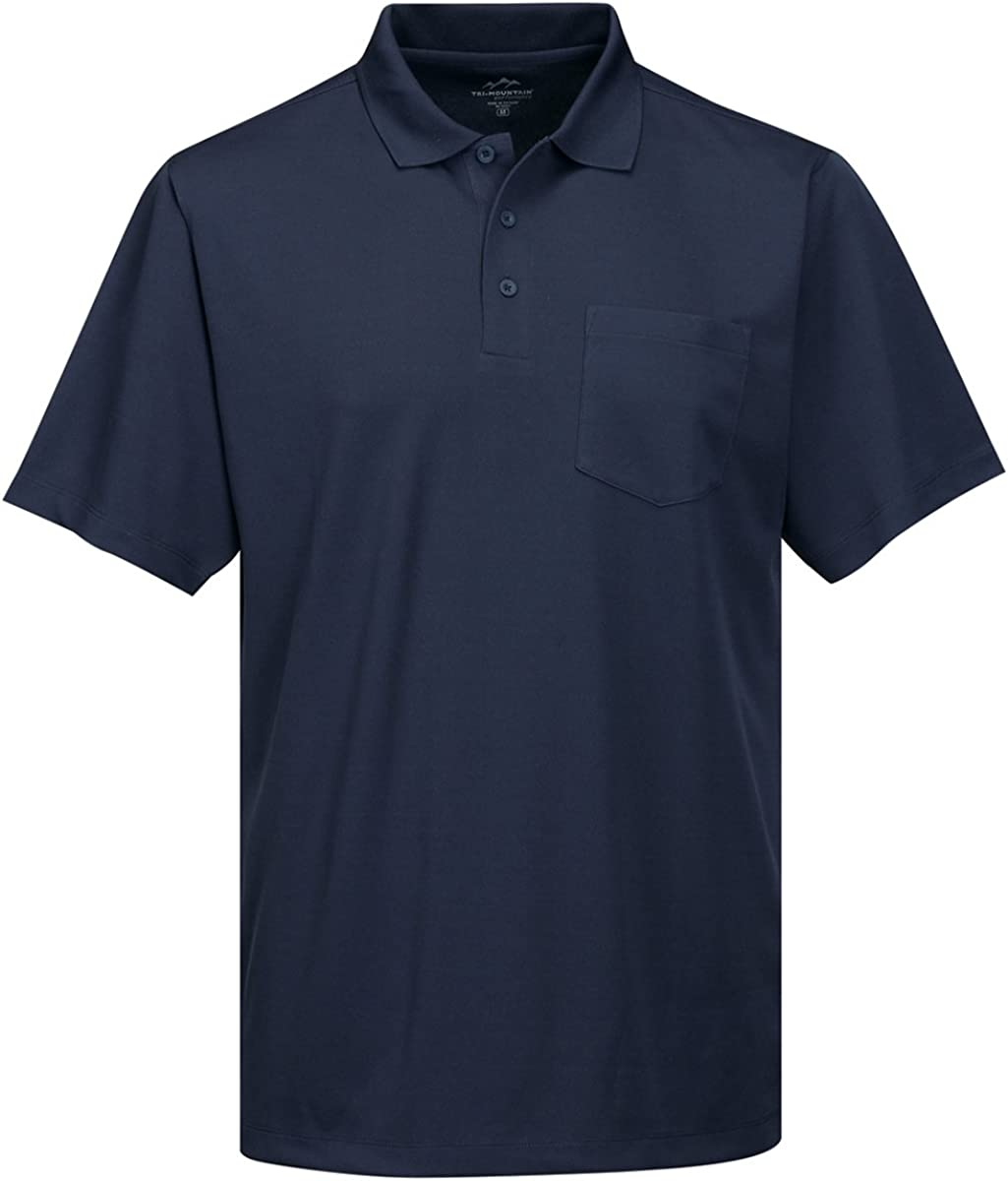 Tri-Mountain Online limited product Omaha Mall Men's 5 oz Moisture Wicking Polyester Shirt w Pocke