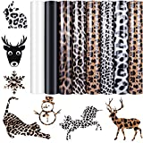 8 Sheets Leopard Heat Transfer Vinyl Iron-on Animal Print Pattern Vinyl Black White PU Vinyl for Valentine's Day T-Shirts and Garments DIY Fabric Craft, 12 x 10 Inch