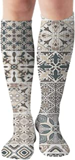 Traditional Ornate Portuguese Decorative Tiles Azulejos Abstract Tile Compression Socks Women & Men - Best For Running,Medical,Athletic Sports,Flight Travel, Pregnancy,19.68 Inch
