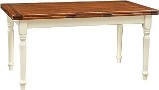 Table à rallonge champêtre en bois massif de tilleul avec structure antique blanche et plateau en noyer L160xPR90xH80 cm