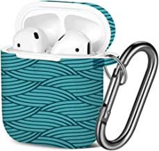 [ Compatible with AirPods 2 and 1 ] Shockproof Soft TPU Gel Case Cover with Keychain Carabiner for Apple AirPods (Wallpaper)