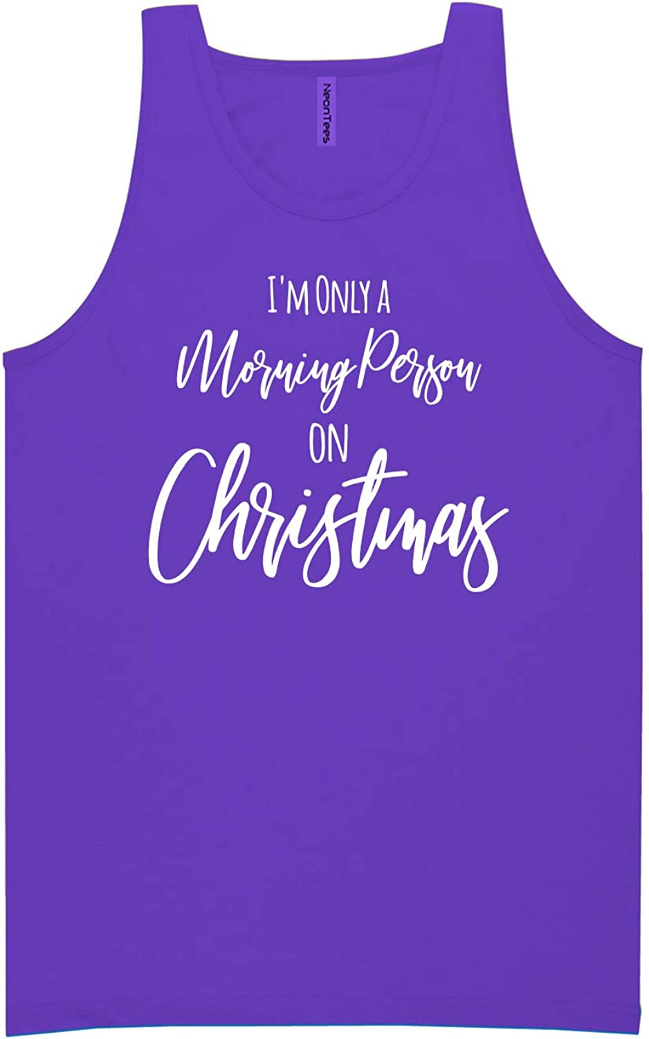 zerogravitee I'm Only A Morning Person Neon Purple Tank Top - XX-Large
