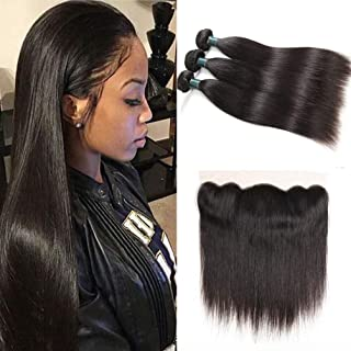 8A Brazilian Virgin Hair Straight Human Hair with Frontal Brazilian Straight Hair Lace Frontal Closure with Bundles Straight Hair Bundles with Lace Frontal(20 22 24+18 frontal, Natural Color)