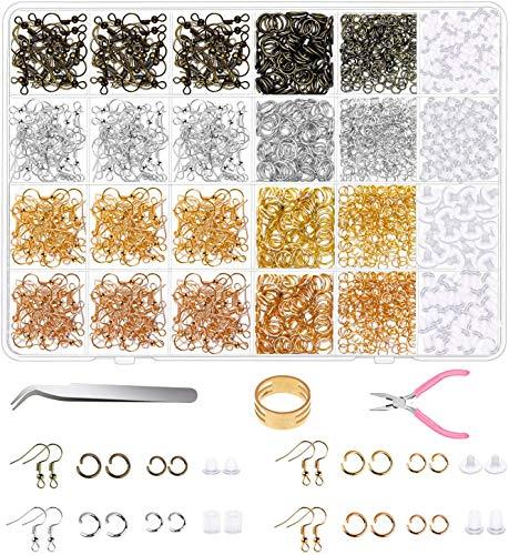 Zestaw do produkcji biżuterii, zestaw materiałów do produkcji kolczyków z haczykami na kolczyki, otwarte pierścienie do skoków, tył kolczyków do naprawy kolczyków