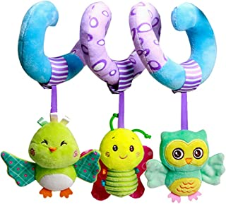 Hanging Toys for Car Seat Crib Mobile, Infant Baby Spiral Plush Toys for Crib Bed Stroller Car Seat Bar - with Rattles But...