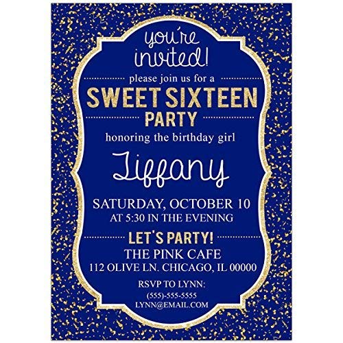 Sweet Sixteen 16 Navy Blue And Gold Birthday Party Invitations