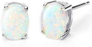 1.2ct Opal Stud Earrings Birthstone Gemstone Jewelry for Women 6x8mm Oval Cut