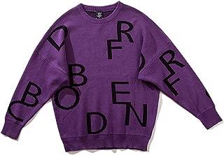 LIUFULING Men's Street Hip-hop Letter Print Oversize Loose bat Sleeve Lovers Sweater (Color : Purple, Size : XXL)
