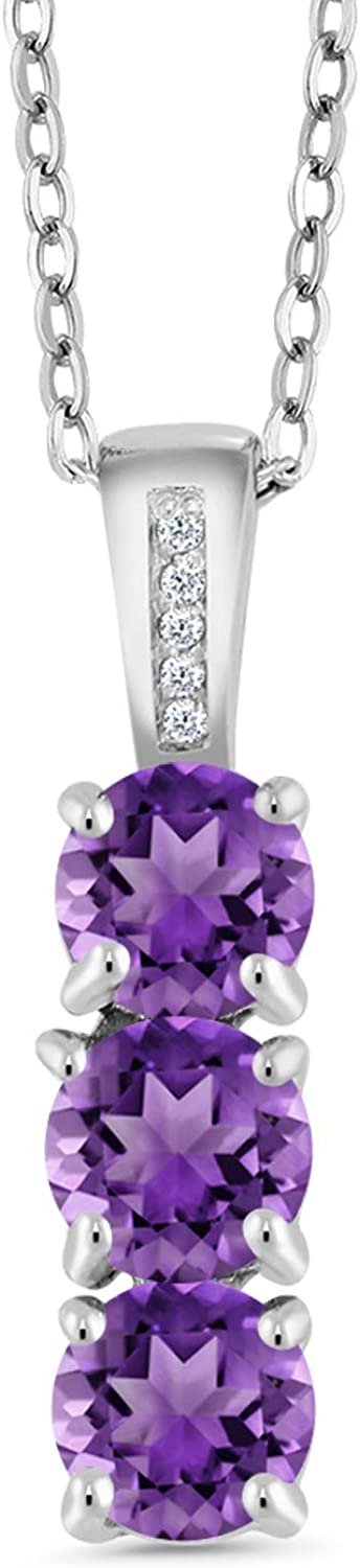 Gem Stone King Sterling Silver Amethyst Diamond Neck Pendant Cheap mail Outlet ☆ Free Shipping order sales and