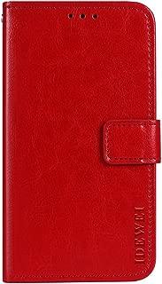 Maxku Leagoo KIICAA MIX ケース 5.5インチ 超軽量 PUレザー スタンドカバー 手帳型 保護ケース ライチ紋様 (レッド)