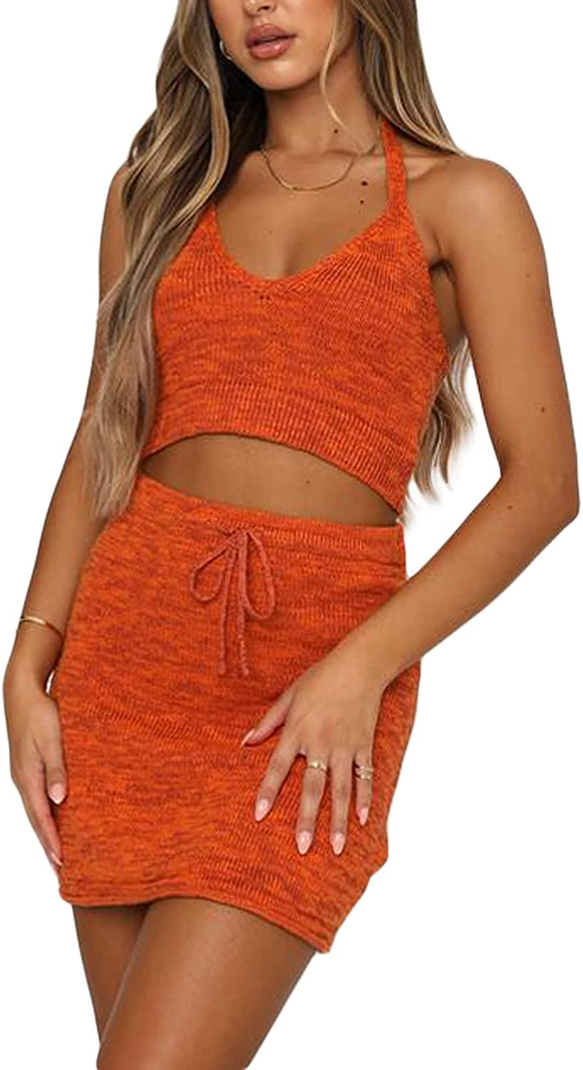 Y2K Women's Two Piece Outfits Set-Tie Dye Deep V Neck Halter Crop Cami Top+Shorts Skirts 2 Piece Set