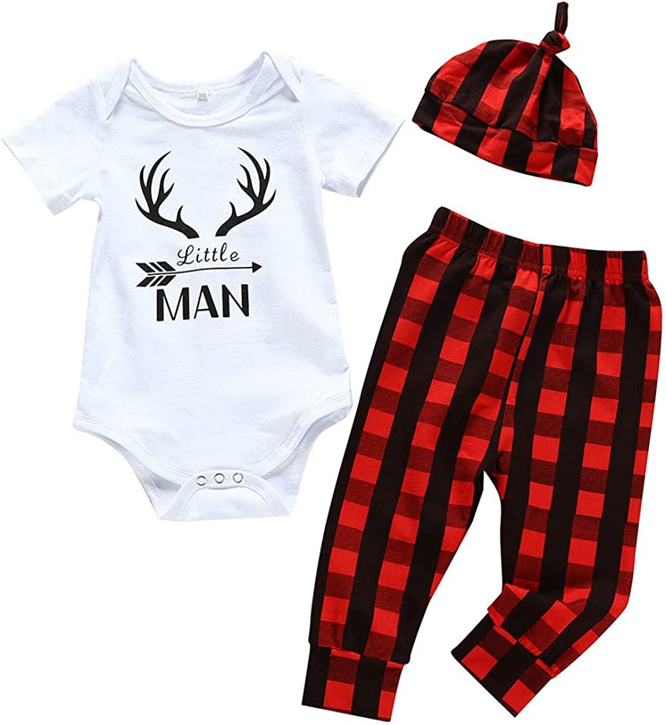 3PCS Baby Boys Little Man Outfit Set Deer Pattern Plaid Pants Set with Hat