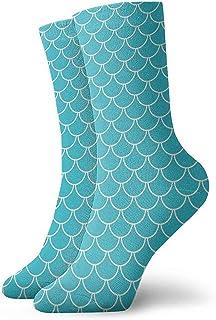 Dydan Tne, Niños Niñas Loco Divertido Teal Azul Sirena Escalas Calcetines Lindos del Vestido de la Novedad