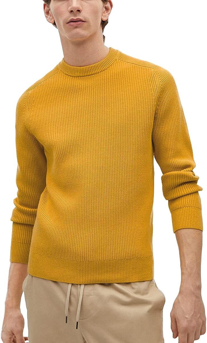 ZHILI Men's Fisherman's Long-Sleeve Pullover Irish Rib Knit Crew Neck Sweater Perfect Merino Wool Fabric