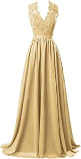 Nina V-Neck Long Chiffon Bridesmaid Dresses Lace Open Back Prom Evening Dress NND029