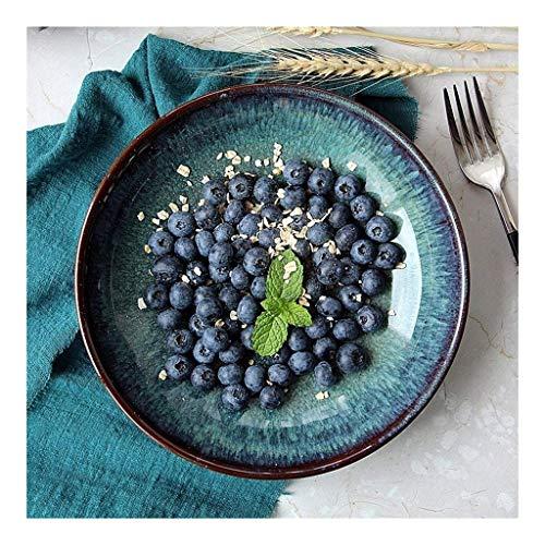 Tazón Oscuro retro cuenco de cerámica verde de ramen bowl creativas ocho pulgadas plato de ensalada plato de fruta plato hondo vajillas hogar, tazón retro