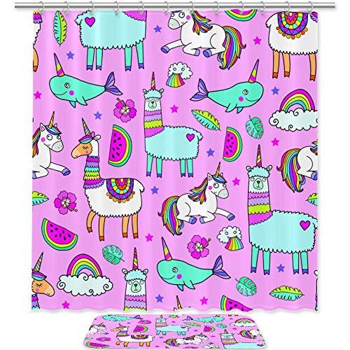 TIZORAX Einhorn & Lama Dolphin Bad Duschvorhang Set mit rutschfesten Bad Teppichen Bodenmatte Home Decoration