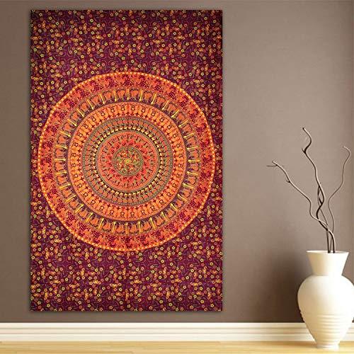 Indus Lifespace - Tapiz de algodón con mandala, bohemio, hippie, para colgar en la pared, decoración del hogar, 215,09 cm por 139,7 cm   para la sala de estar y decoración del hogar
