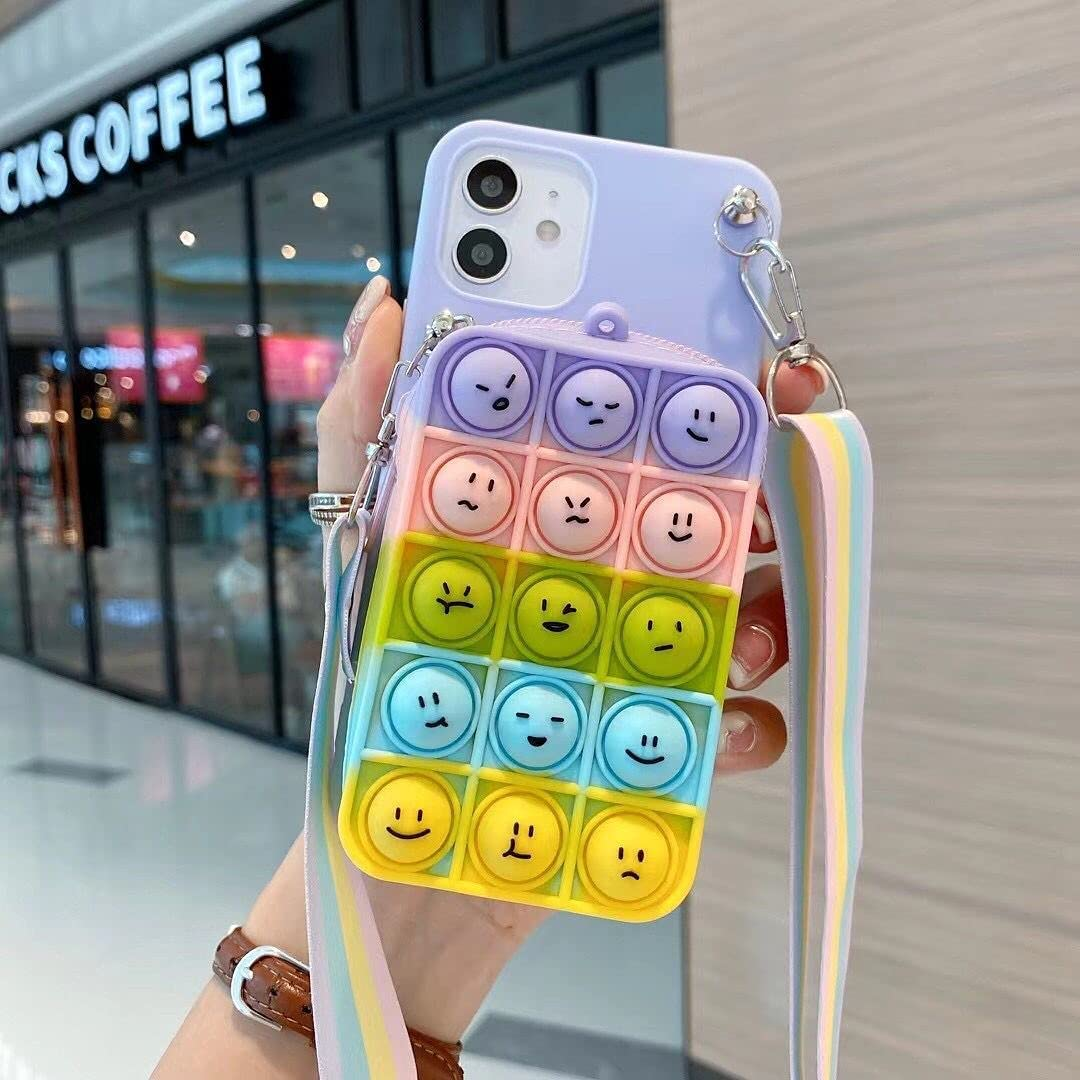 ISYSUII Cute Case for Samsung Galaxy Note 10 Plus Funny Kawaii Bear Soft Silicone Bubble Phone Case for Teens Girls Shockproof Protective Case with Card Holder Crossbody Strap Lanyard,Rainbow