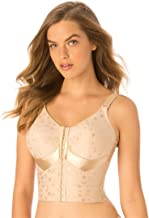 Elila Women's Plus Size Jacquard Front-Close Wireless Longline Posture Bra #5415
