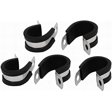 uxcell 30mm Dia EPDM Rubber Lined P Clips Cable Hose Pipe Clamps Holder 5pcs