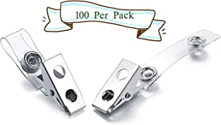 BlueSnail Metal ID Badge Clips with Clear Vinyl Strap and Metal Snap Button(100 per Pack)