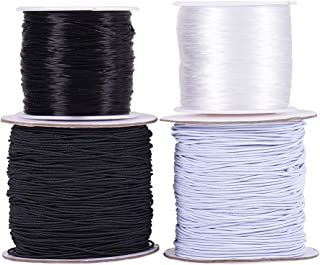 PH PandaHall 4 Roll 0.8 mm Elastic Stretch String Cord, Crsytal Fiber Bracelet String Bead Cord and Round Rubber Fabric Crafting Thread, Black & White
