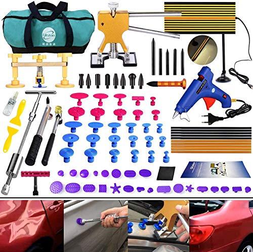 Randalfy DIY Paintless Ausbeulwerkzeug Dent Repair Kit 89er Dellen Reparaturset Dent Puller Gleithammer für Auto Hagelschaden Dent & Ding Remover