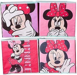 Minnie Mouse Boîte de rangement pour jouets 28 x 28 x 28 cm, Rose bonbon - Pack de 4