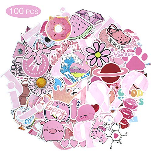 100 Stks Sticker Pack Vinyl Kawaii Sticker voor Laptop Waterflessen Bagage Skateboard PS4 Xbox One Telefoon Auto Volwassen Tieners Jongens en Meisjes Waterdicht Pink 100 roze