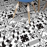 5pcsキッチンタイルステッカー家の装飾のためのデカールタイルステッカー自己接着性装飾壁タイル幾何学的な線黒と白