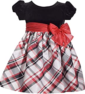 Short Sleeve Christmas Dress with Black Velvet and Red Nordic Plaid