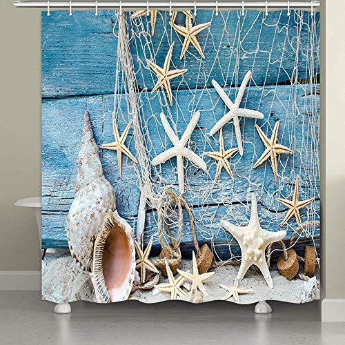 Starfish Conch Seashell Shower Curtain 69 X 70 Inch Nautical Vintage Fishing Nets Beach Ocean Shower Curtains Bathroom Decor Waterproof Fabric Polyester with 12 Hooks