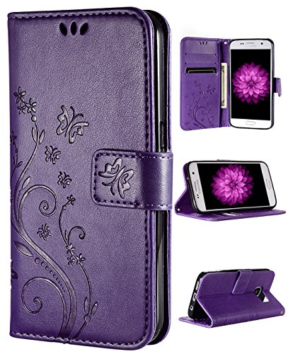 FLYEE Galaxy S7 Walelt Case,Emboss Butterfly Flower Premium Leather Folio Flip Style with Card Slots Magnetic Back Cover for Samsung Galaxy S7 5.1 inch Purple