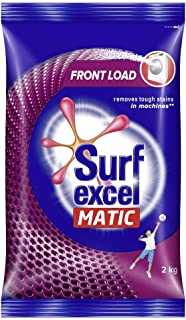 Surf Excel Matic Front Load Detergent Washing Powder, Specially Designed For Tough Stain Removal In Front Load Machines, 2Kg