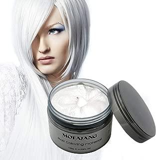 MOFAJANG Natural Hair Wax Color Styling Cream Mud, Natural Hairstyle Dye Pomade, Temporary Hairstyle Cream 4.23 oz, Hairstyle Wax for Men and Women (White)