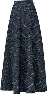 BININBOX Faldas largas a Cuadros, De Cintura Alta, Faldas de otoño e Invierno, Faldas de algodón para Mujer