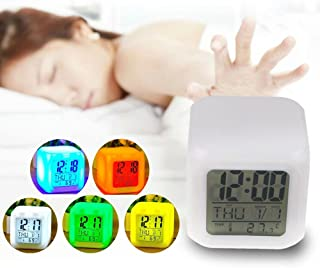 Fencia Alarm Clock 7 LED Color, Digital Alarm Thermometer Night Glowing Cube 7 Colors Clock LED Change LCD with Data and Temperature Display for Bedroom Child (Changable Color)