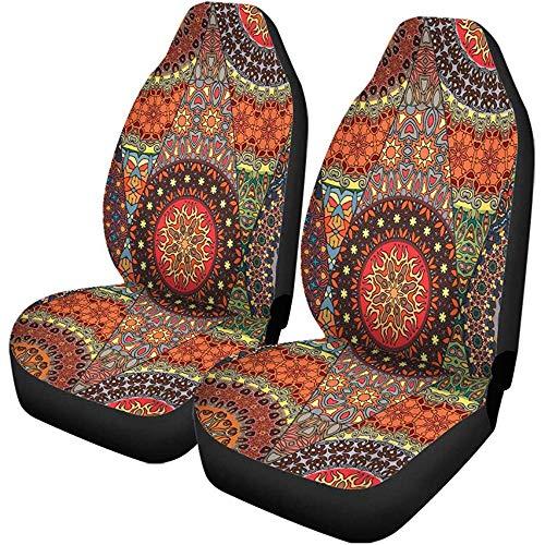 TABUE 2 stuks autostoelhoezen Bohemian kleurrijk vintage bloemen en mandala tapijt ottoman stoelbeschermer geschikt voor auto, SUV limousine, vrachtwagen